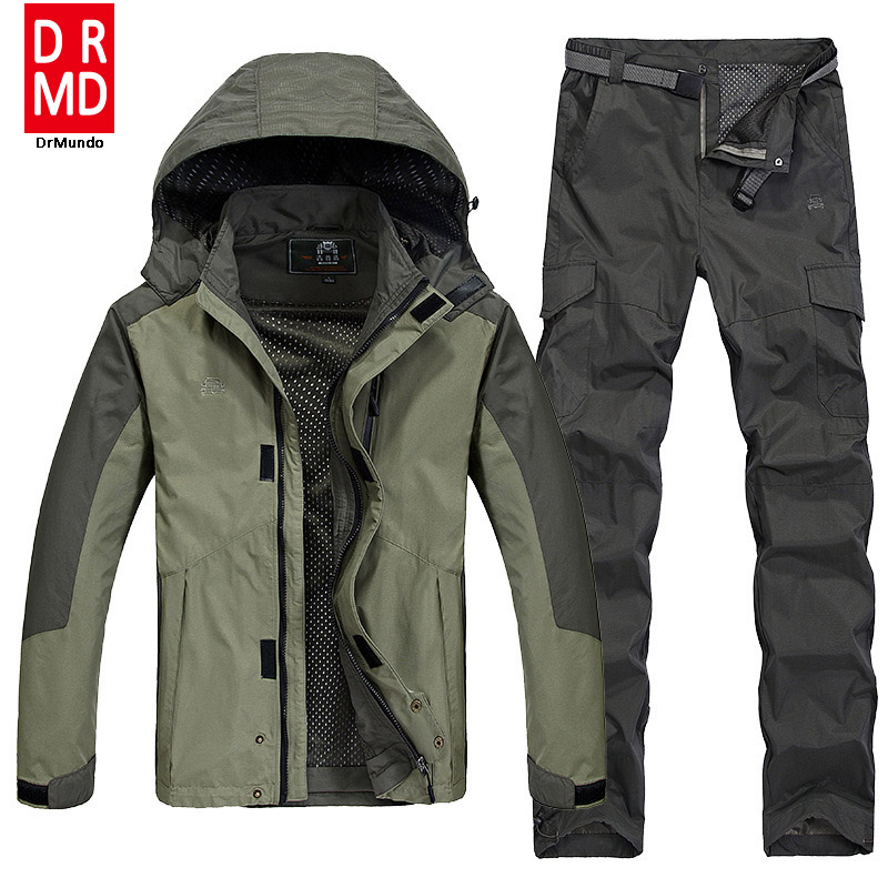 Outdoor hiking jacket suits waterproof men plus size for Waterproof fishing jacket