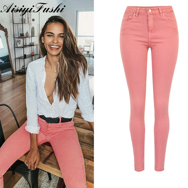 Elegant Skinny Pink Pants For Woman Jeans High Waist Women Casual Pencil Pants Female Women's Trousers Pantalon Femme Plus Size