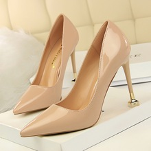 цена на basic high heels pumps women shoes fashionable heel high patent leather shallow mouth tip sexy nightclub obvious thin shoe