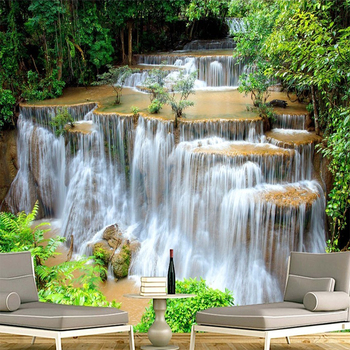 Custom 3D Photo Wallpaper HD Green Landscape Waterfall Beautiful TV Background Mural Bedroom Living Room Non-woven 3D Wall Paper цена 2017