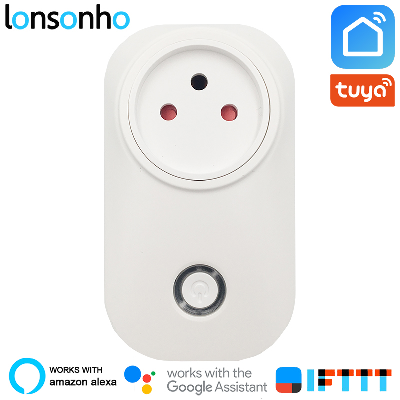 Lonsonho Israel Smart Plug Wifi Smart Socket 16A 3 Pin with Ground Tuya Smart Life App Works With Alexa Google Home in Smart Power Socket Plug from Consumer Electronics
