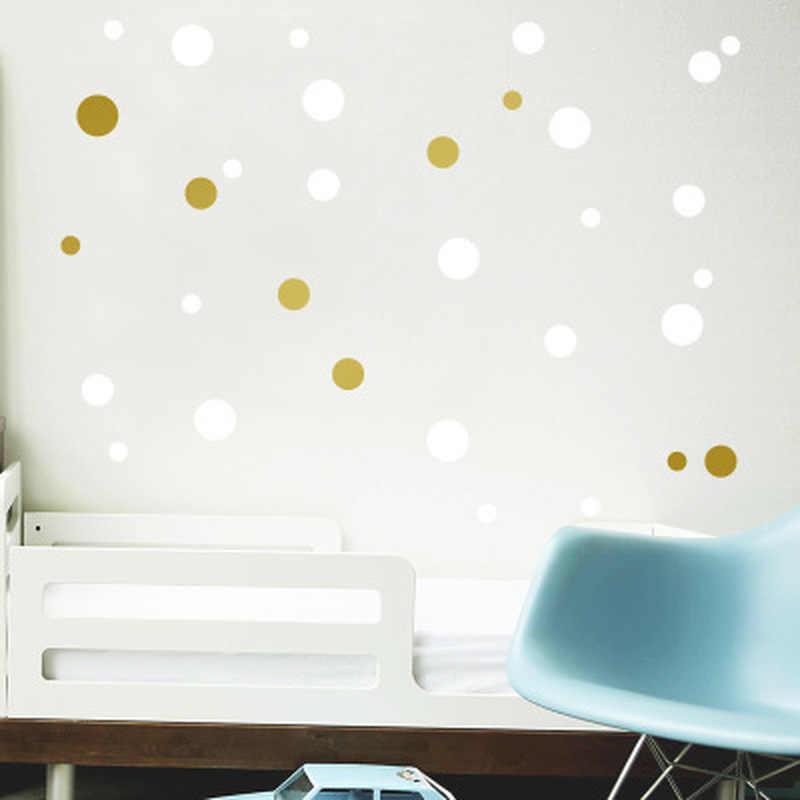 Золотистый в горошек детская комната настенные наклейки для детей домашние детские декорации настенные Переводные рисунки наклейки на стену для обои для детской комнаты