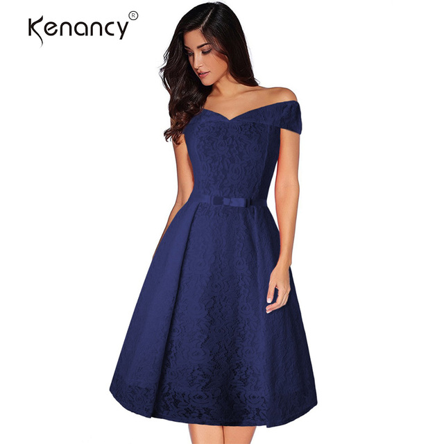 edae36bf993 Kenancy Sexy Slash Neck Hollow Carved Lace A-line Dress Elegant Lady Short  Sleeves High Waist Slim Party Work Dress