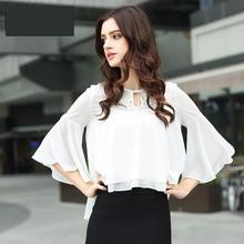 2017 Summer New Princess Loose Chiffon Shirt White Spot Flare Sleeve V-neck Casual Blouse Corean Style Fashional Female