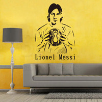 Art Cheap Home Decoration Football Player Lionel Messi Wall Sticker Removable Colorful House Decor Soccer Athlete