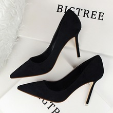 Spring Autumn fashion Simple women pumps 9 CM Fine high heels Shallow mouth Pointed Suede Sexy Professional OL women's shoes