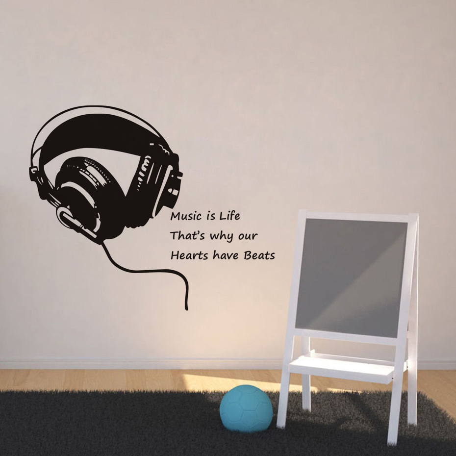 Audio Quotes About Life Music Is Life Headphones Quotes Wall Stickers Home Decoration