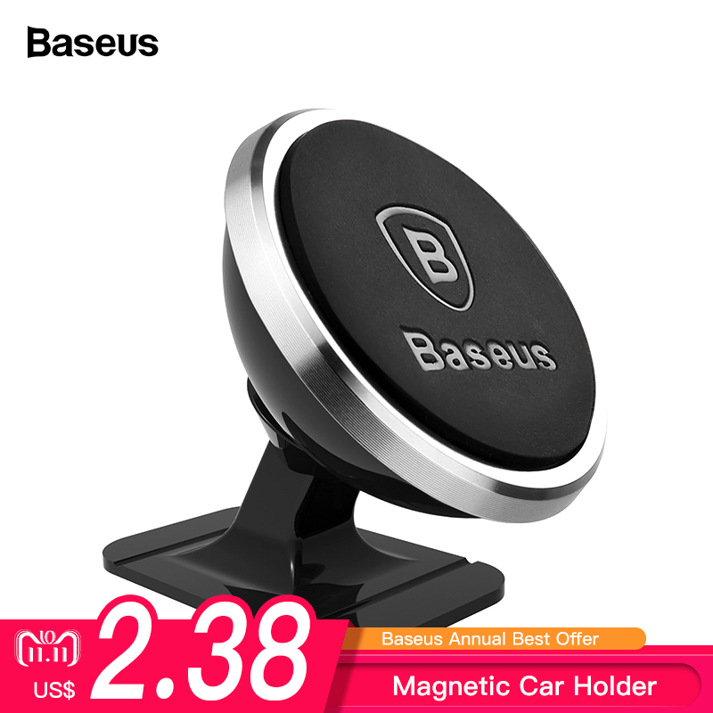 Baseus Magnetic Car Phone Holder For iPhone XS X Samsung Magnet Mount Car Holder For Phone in Car Cell Mobile Phone Holder Stand strong magnetic 360 degree rotation ball car mount holder for iphone samsung phone gps bracket stand support car supplies