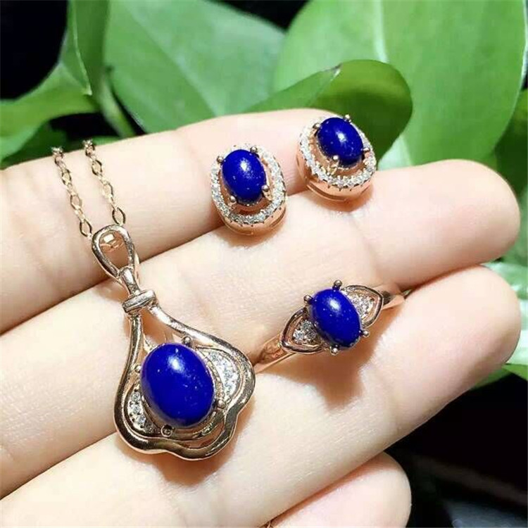 KJJEAXCMY boutique jewels 925 sterling silver inlaid with natural oval blue diamond ring pendant earrings 3 pieces of gold and s