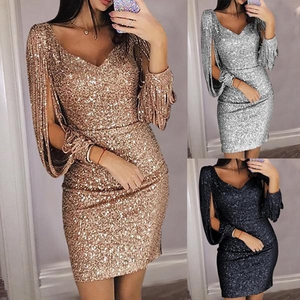 Image 5 - Sexy Mermaid Navy Blue Short Evening Dresses 2020 New Three Quarter Sleeve V Neck Formal Party Prom Gowns Sequined Evening Dress