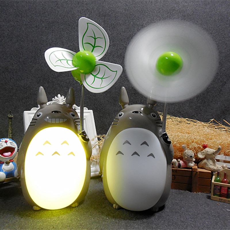 Totoro Cartoon Fan Creative LED Bedside Night Light Mute USB Fan Warm White Light Lamp for Student Dormitory Kids Gifts