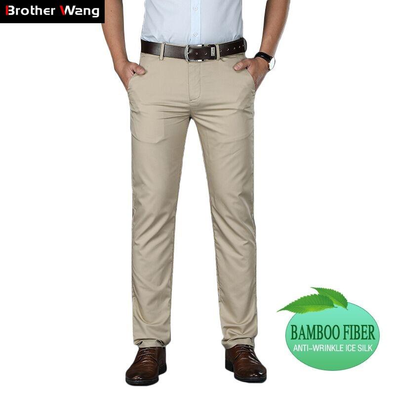 2019 été nouveaux hommes mince pantalons décontractés Business mode solide couleur bambou Fiber glace soie haute qualité pantalon marque vêtements