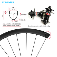 7 TIGER carbon mountain bicycle wheels 24x24mm 29er wheelset mtb wheels for XC version withouter holes, Novatec mtb hubs