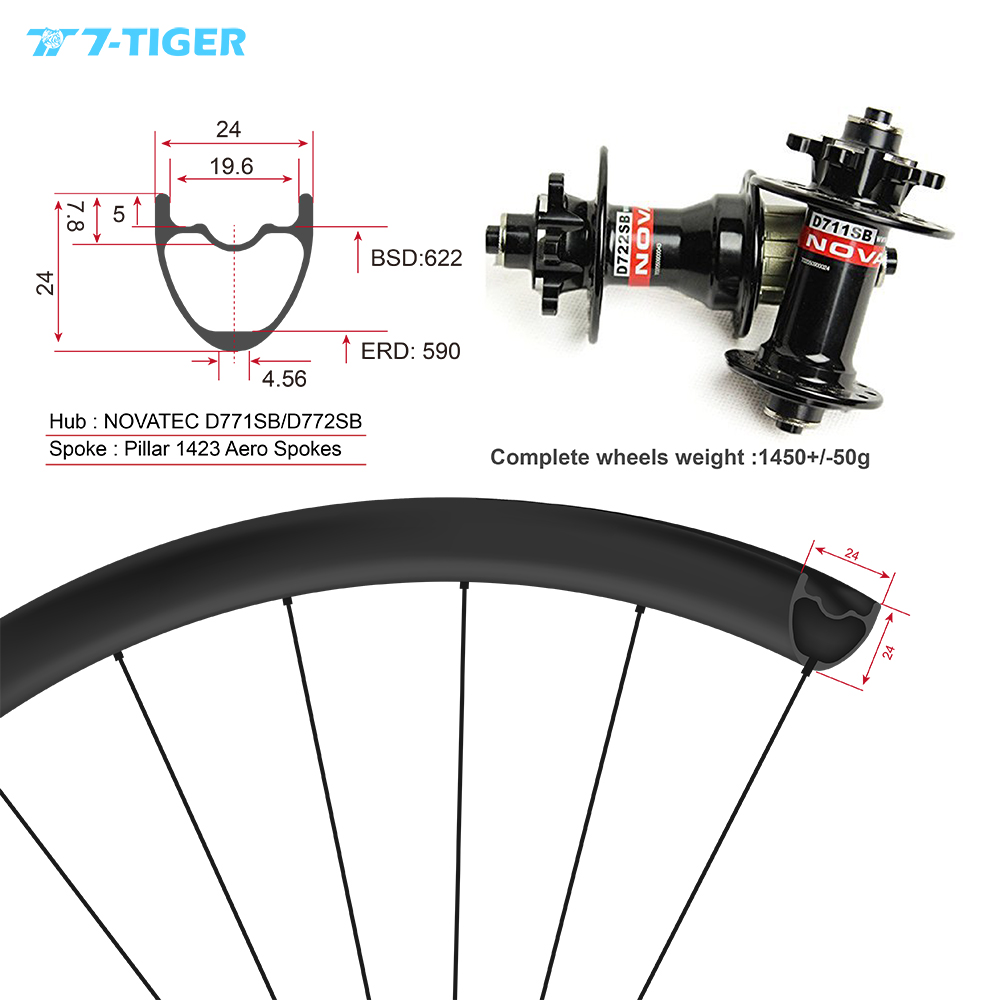 7-TIGER carbon mountain bicycle wheels 24x24mm 29er wheelset mtb wheels for XC version withouter holes, Novatec mtb hubs 27 5er mtb wheels width 35mm carbon mtb wheels novatec 791 792 thur axle 650b mountain bikes bicycle mtb wheels