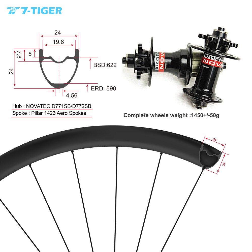 Roues de vélo de montagne en carbone 7-TIGER roues vtt 24x24mm 29er pour version XC avec trous extérieurs, moyeux vtt Novatec