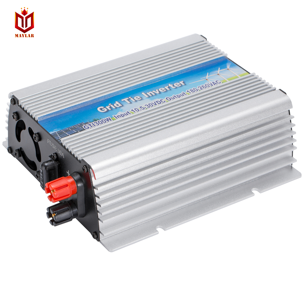 MAYLAR@ 10.5-30Vdc 300W Solar Grid Tie Pure Sine Wave Power Inverter Output 160-280Vac,50Hz/60Hz, For Home Solar Energy System maylar maylar 10 5 30vdc 500w pure sine wave solar grid tier inverter output 190 260vac power inverter for home solar system