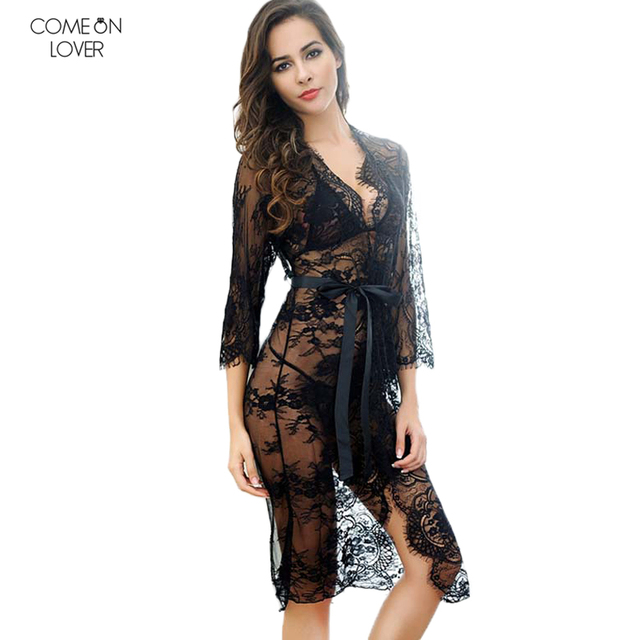 Comeonlover Transparent Floral Lace Lingerie Sexy Hot Erotic See Through Sexy Dress Underwear+G-string RT80289 Sexy Nightwear