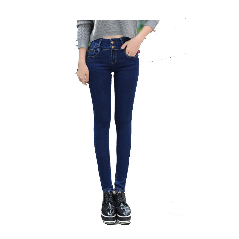 2016 Winter Warm thick velvet skinny jeans Pants for woman Plus size 32 Blue Dark trousers