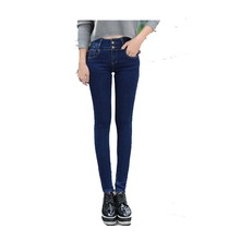2016 Winter Warm thick velvet skinny jeans Pants for woman Plus size 32 Blue Dark  trousers Skinny ladies pant