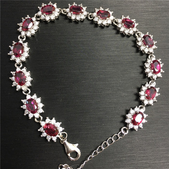 KJJEAXCMY fine jewelry 925 Pure silver inlaid with natural gemstone and magnesium aluminum garnet jewelry.