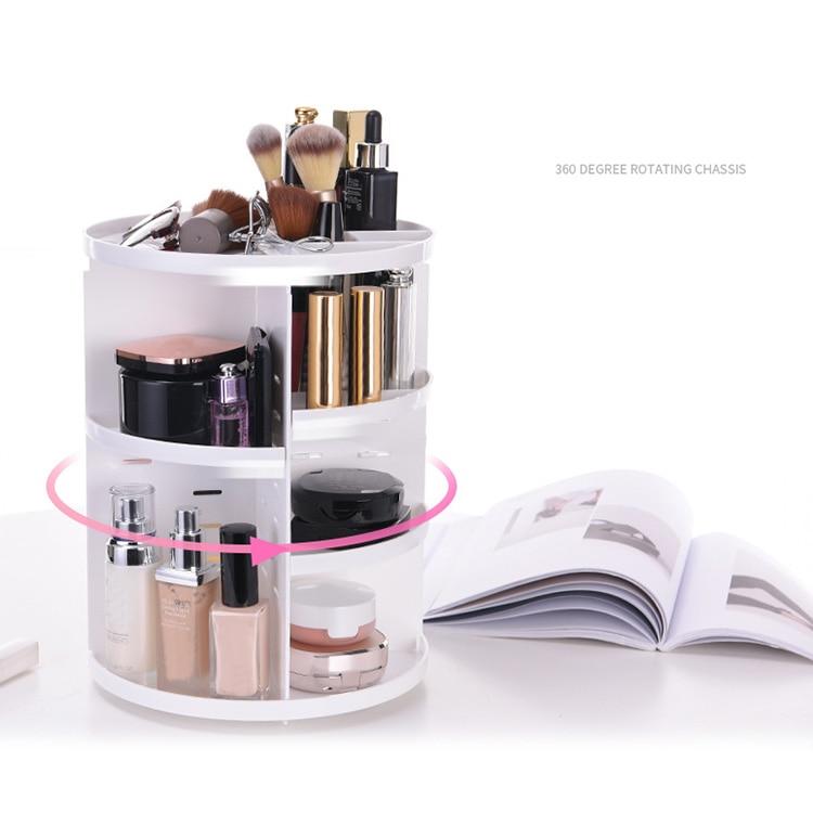 Makeup Organizer 360 Rotating Adjustable Storage Box Large Capacity Rack for Cosmetics Brushes HG99