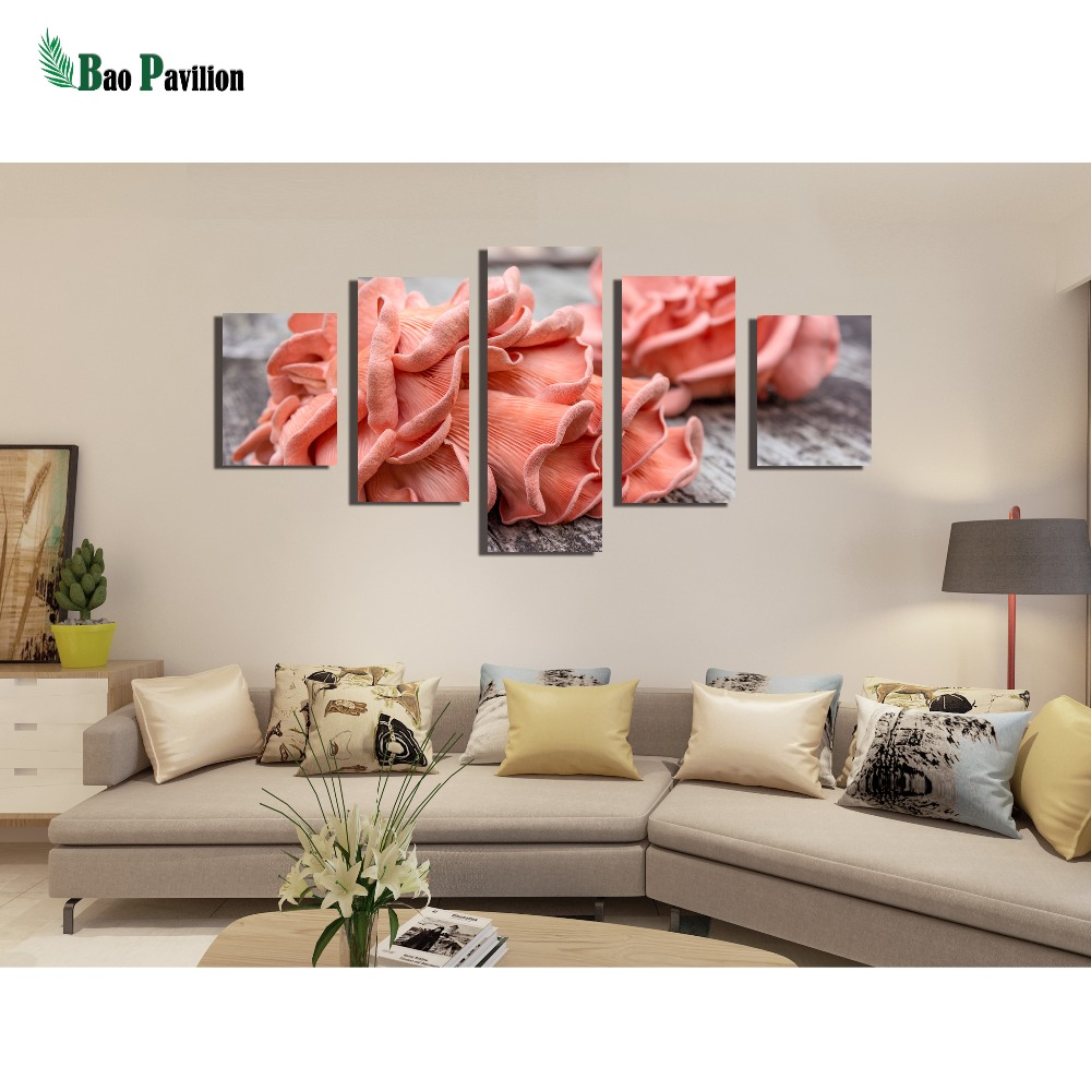 Wall Art Painting HD Printed Poster Home 5 Pieces Beautiful Pink Flowers Framework Canvas Decor Living Room Modular Picture in Painting Calligraphy from Home Garden