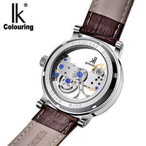 Image 4 - IK coloring Bridge Analog Display Mechanical Male Clock Automatic Wristwatch Golden Bezel Skeleton Watches relogio masculino