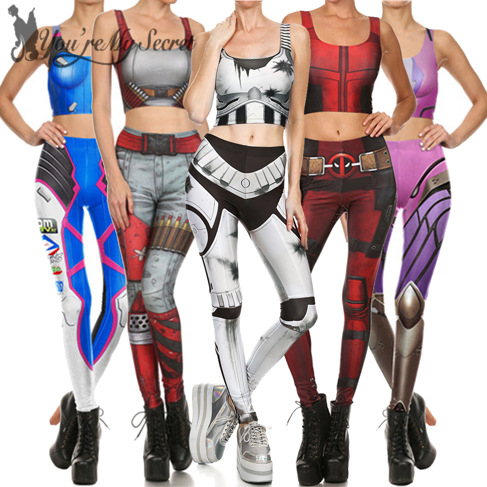 {You're My Secret] Cosplay Constume for Women Wonder Captain America Deadpool Anime Star Wars Mermaid Party Crop Top Legging Set