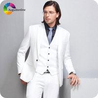 Элегантные белые свадебные костюмы для мужчин смокинг жениха мужской Блейзер Куртка женихов костюм 3 предмета Homme Slim Fit Terno Masculino