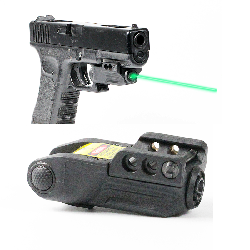 Tactical Laser Sight Scope Ambidextrous On/Off Button Glock 19 Sights Laser  Green Picatinny Fully Adjustable Windage/Elevation