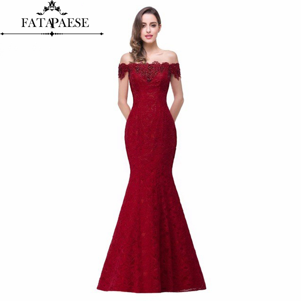 Cheap Price Elegant Crystal Beaded Red Royal Blue Lace Mermaid Long Evening Dresses 2019 Prom Party Dress Robe De Soiree Longue