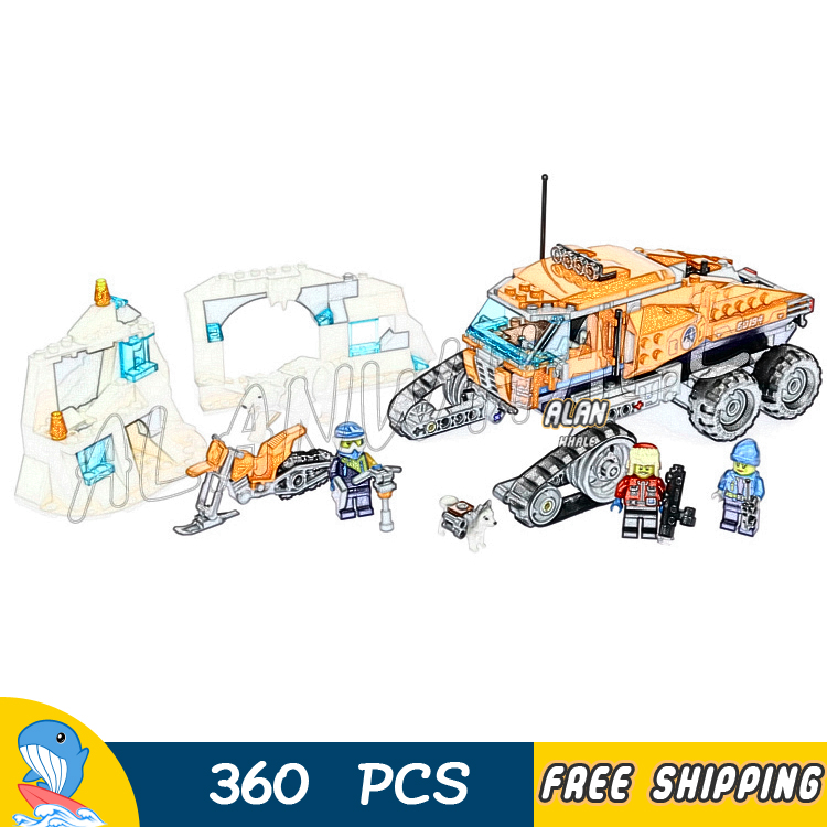 360pcs City Arctic Scout Truck Snow bike Ice Cave Wall Polar bear 10995 Figure Building Blocks Toys Compatible With Lago image