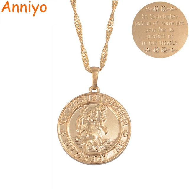 Anniyo St. Christopher Protect Me Necklaces for Women,Light Gold/Silver Color Sa