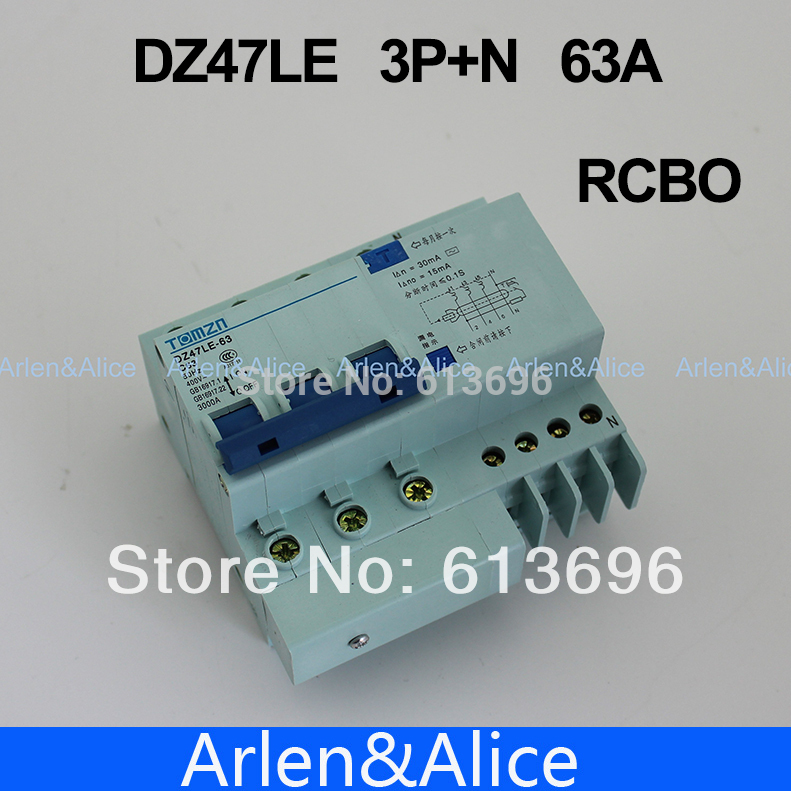 DZ47LE 3P+N 63A 400V~ 50HZ/60HZ Residual current Circuit breaker with over current and Leakage protection RCBO 50a 3p n rcbo rcd circuit breaker de47le delixi