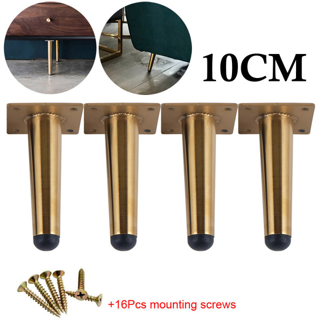 4pcs Stainless Steel Furniture Feet 10cm Tables Cabinets Feet Sofa Bed TV Cabinet Foot With Mounting Screws Gold Straight Feet