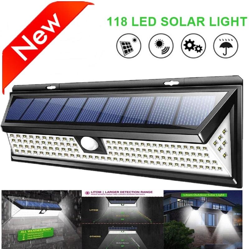 ip65 luz solar 118 led pir sensor de movimento da lampada ao ar livre luzes solares
