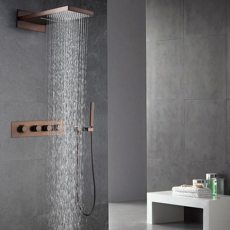 Oil Rubbed Bronze Shower Faucets Set Rainfall Waterfall Shower Heads ORB Bathroom Showers Wall Mounted Rain Hand Hold Shower