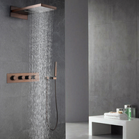 Oil Rubbed Bronze Shower Faucets Set Rainfall Waterfall Shower Heads ORB Bathroom Showers Wall Mounted Rain
