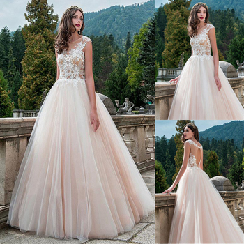 Exquisite Tulle Scoop Neckline A-line Wedding Dress With Lace Appliques Nude Floor Length Bridal Dress vestido branco