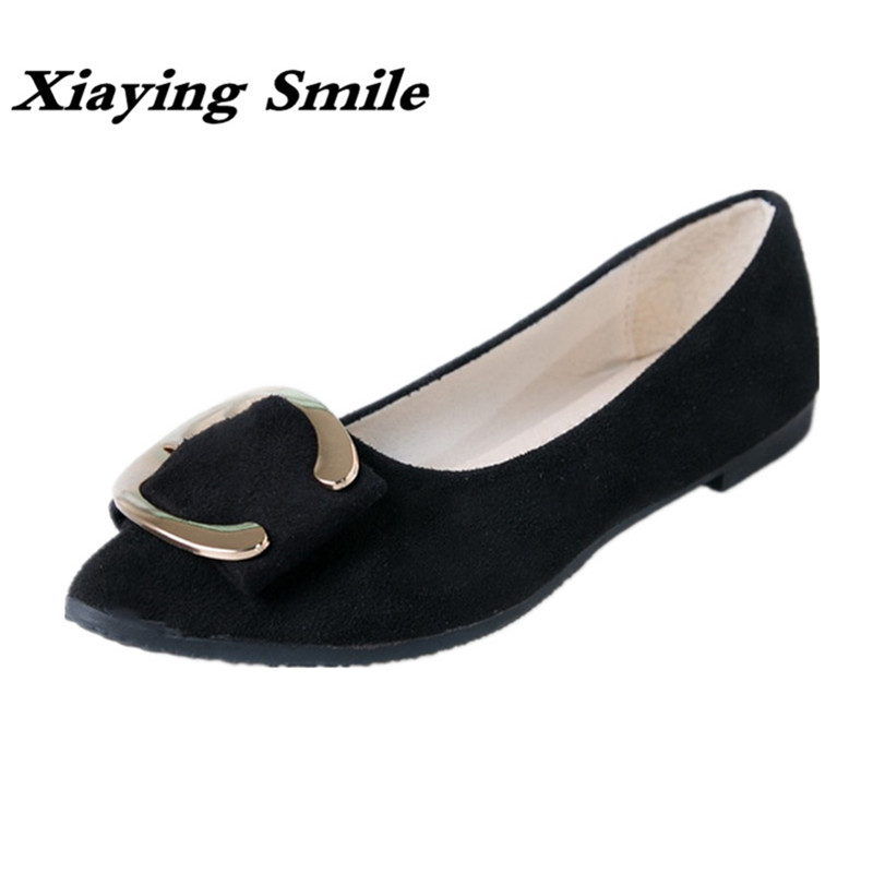 Xiaying Smile Woman Flats Women Loafers Shoes Spring Summer Pointed Toe Slip On Casual Metal Buckle Shallow Nurse Women Shoes