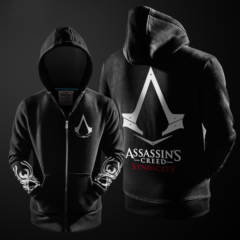 2016 Autumn Winter Assasins Creed font b Hoodie b font Men Black Cosplay font b Sweatshirt