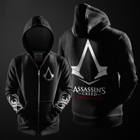 2017 Outono Inverno Assasins Creed Hoodie Dos Homens Assassins Creed Cosplay Preto Traje Moletom Com Forro de Lã Hoodies Dos Homens Jaquetas