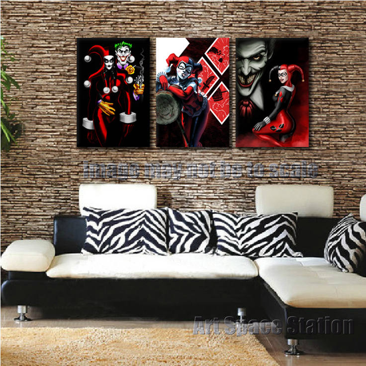 Aliexpress com   Buy FREE SHIPPING Harley Quinn and The Joker Comics  Poster  3 Piece Cartoon Canvas Wall Pictures Print for Home Decor No Framed  from. Aliexpress com   Buy FREE SHIPPING Harley Quinn and The Joker