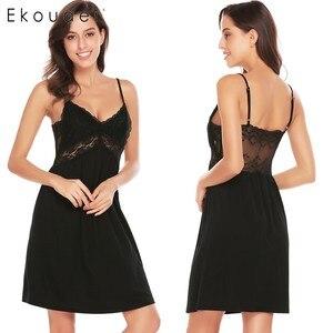 Image 2 - Ekouaer Women Sexy Nightgown Spaghetti Strap V Neck Sleeveless Lace Patchwork Backless Summer Sleepwear Female Home Clothing