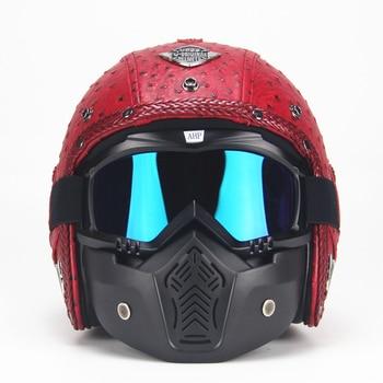 Casco de cuero para Moto rcycle 3/4, casco de moto Chopper con visera