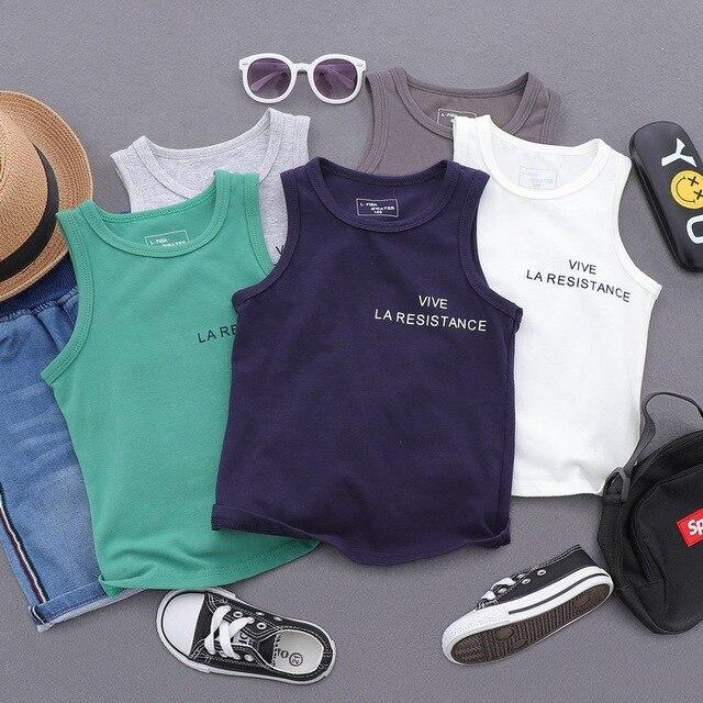 875c7a081 Camiseta de verano para niños, camisetas sin mangas con letras niños y  niñas, algodón camiseta chaleco 2 8 años