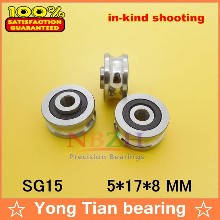 10PCS SG15 2RS U Groove pulley ball bearings 5*17*8 mm Track guide roller bearing SG5RS V17 (Precision double row balls) ABEC-5 lfr5206 20 npp groove track roller bearings lfr5206 size 25 72 25 8mm