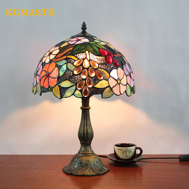12 Inch European Stained Glass Lamp Living Room Bedside Table Lamp