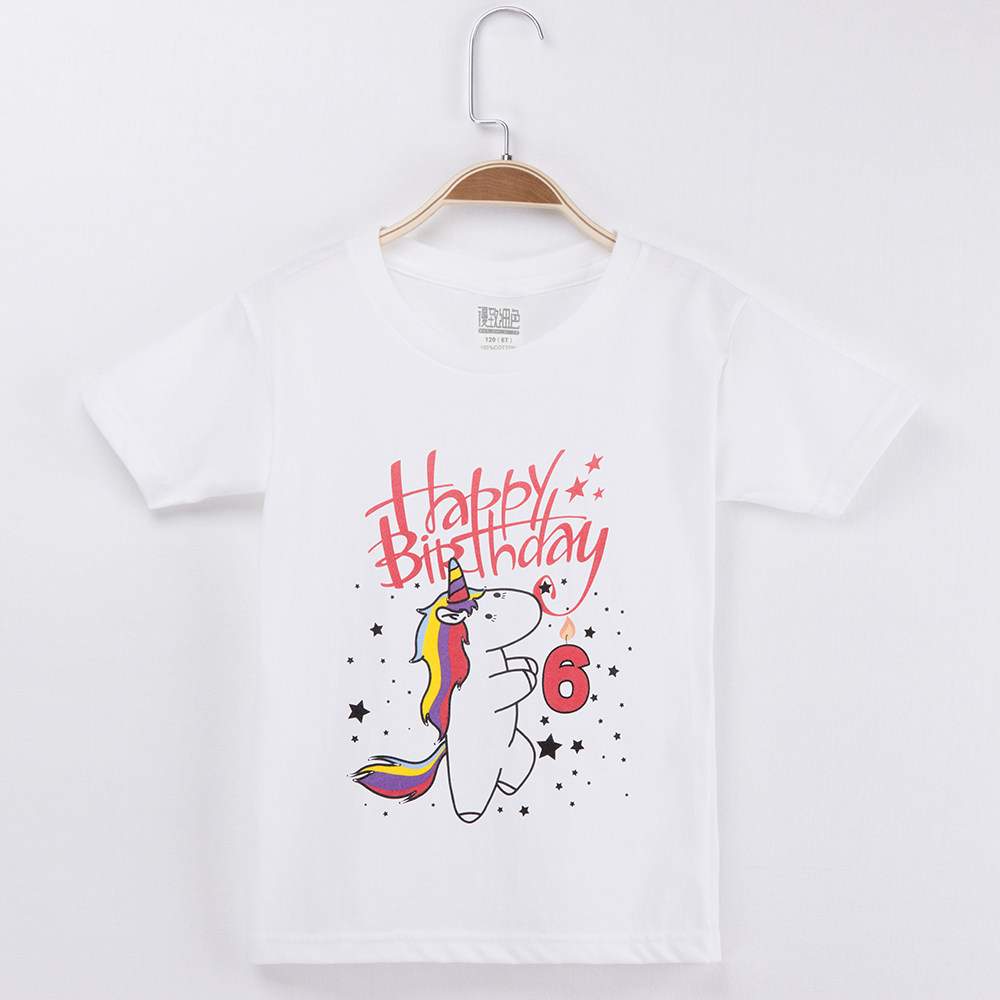 2018 Fashion Summer Children Clothing Kids T shirt Birthday Kawaii Unicorn 100% Cotton Short Girls Tops Baby Clothes Boys Tshirt