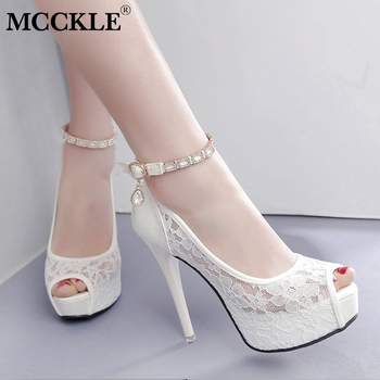 MCCKLE Sexy Stiletto Women Wedding Pumps Ladies Fashion High Heels Female Peep Toe Buckle Strap Crystal Hollow Out Shoes
